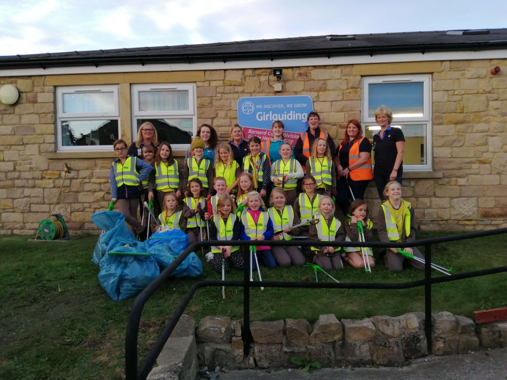 Barnard Castle Brownies after an evening litter picking.